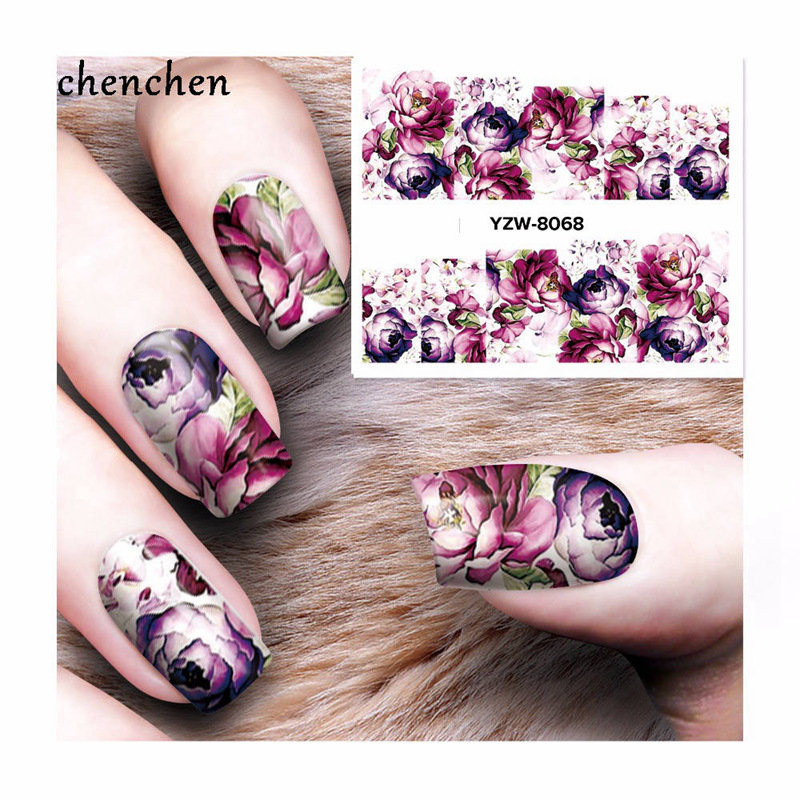 Water sticker for nails art all decorations sliders peony rose flower bohemia adhesive nail design decals manicure lacquer foil 2016 trendy fabric blooming peony flower corsage brooch woman hair decorations