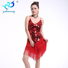 Round Sequins Latin Dance Dress Women Strap V Neck Tango Ballroom Salsa Dance Dress Party Costume Dancewear Tassel Strap Dresses