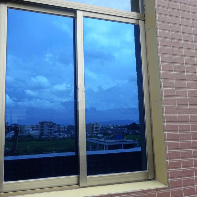 60  x20   Double Blue One Way Mirror Window Film Glass Sticker Home  Building Office Decor ae0b411910c