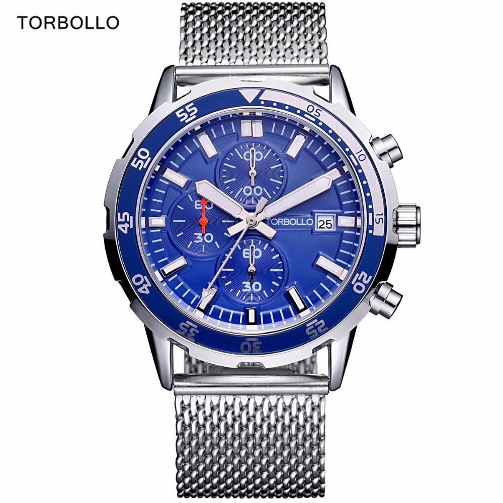 Prix pour Mer Bleu Hommes Montres De Luxe Top Marque Chronographe Étanche Sport Quartz Militaire Homme Montre-Bracelet Homme Horloge 2017 Montre Homme