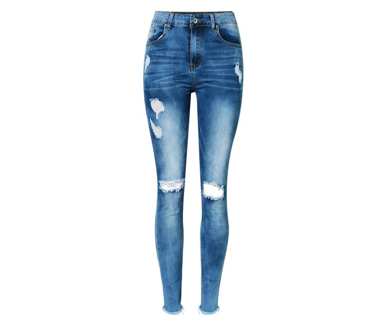 Aliexpress.com : Buy High Waist Hole Ripped Jeans Women Navy Blue ...