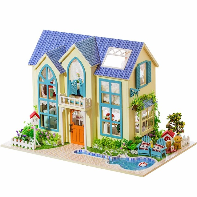 New Arrival Hoomeda Wood Miniatura DIY Handcraft Dollhouse Kit Victoria Cottage With LED Light Birthday Gift For Children Girls