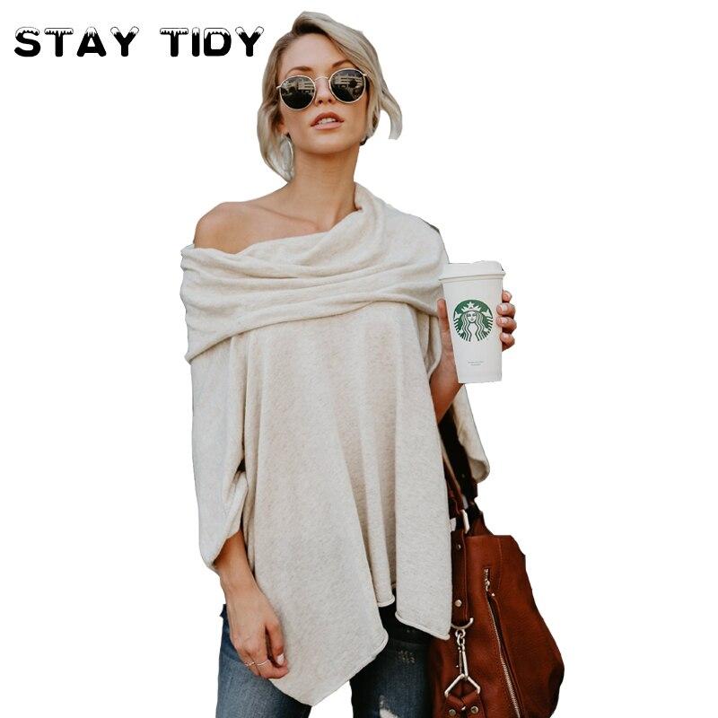 STAY TIDY Newest Off Shoulder Cashmere T shirt Women Long Tops 2017 Autumn Long Sleeve Asymmetrical