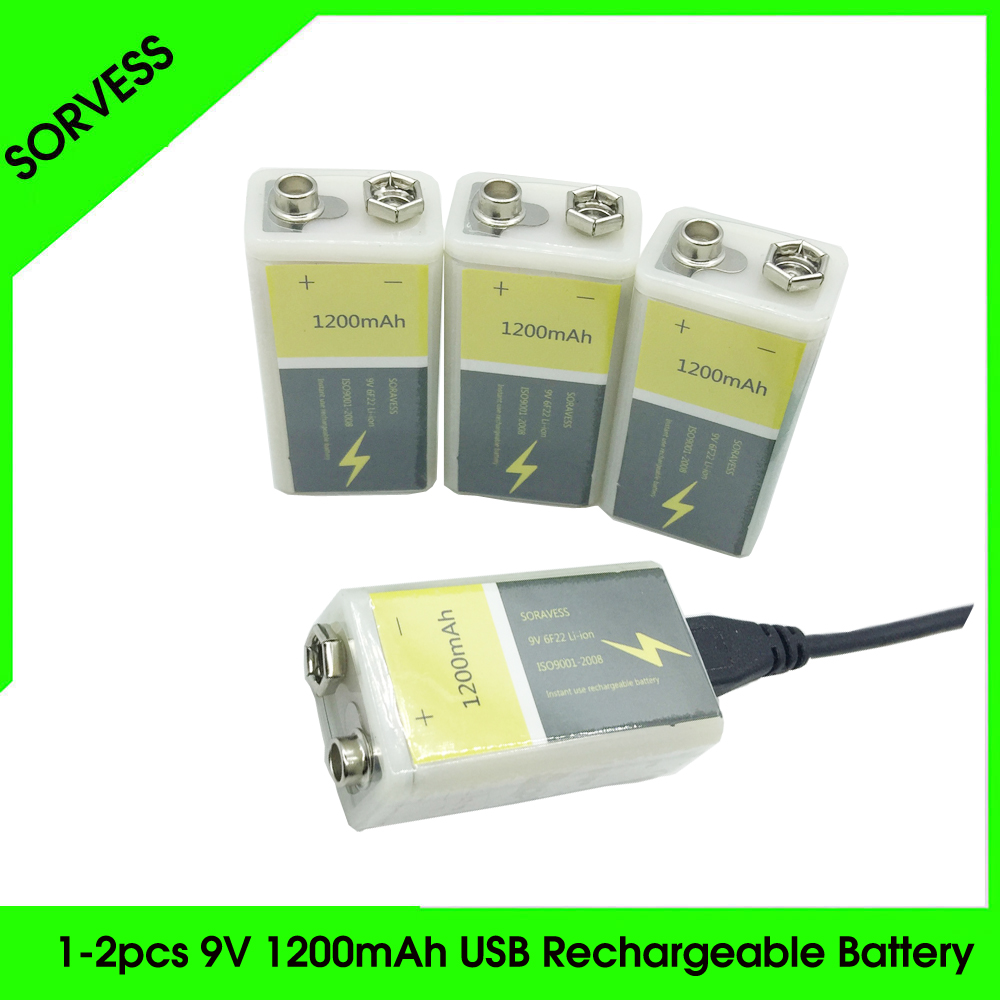 SORVESS <font><b>9V</b></font> 6F22 USB Rechargeable Lithium Ion Battery <font><b>1200mAh</b></font> Li-ion Li ion Cell For Forwireless Microphone Guitar EQ Smoke image