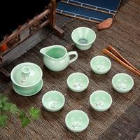 Longquan Celadon Fish Tea Set Ceramic Kettle Ceramic Gaiwan Tea Cup fish chinese kung fu tea pot drinkware for friend Gift