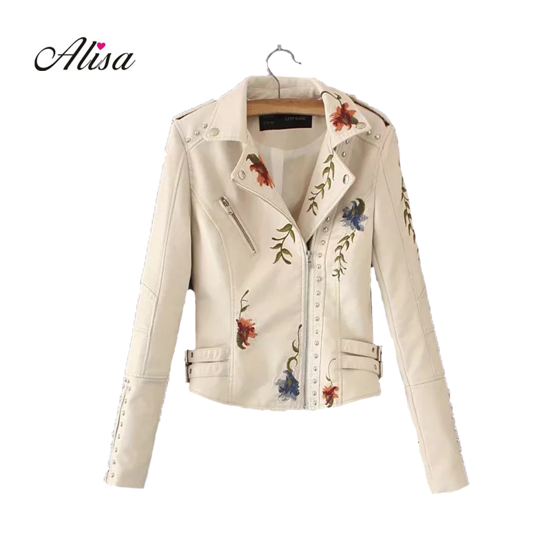 Women Fashion Embroidered PU   Leather   Jacket New 2018 Spring Long Sleeve Rivet Casual Punk Short Coat Casaco Feminino Jaqueta
