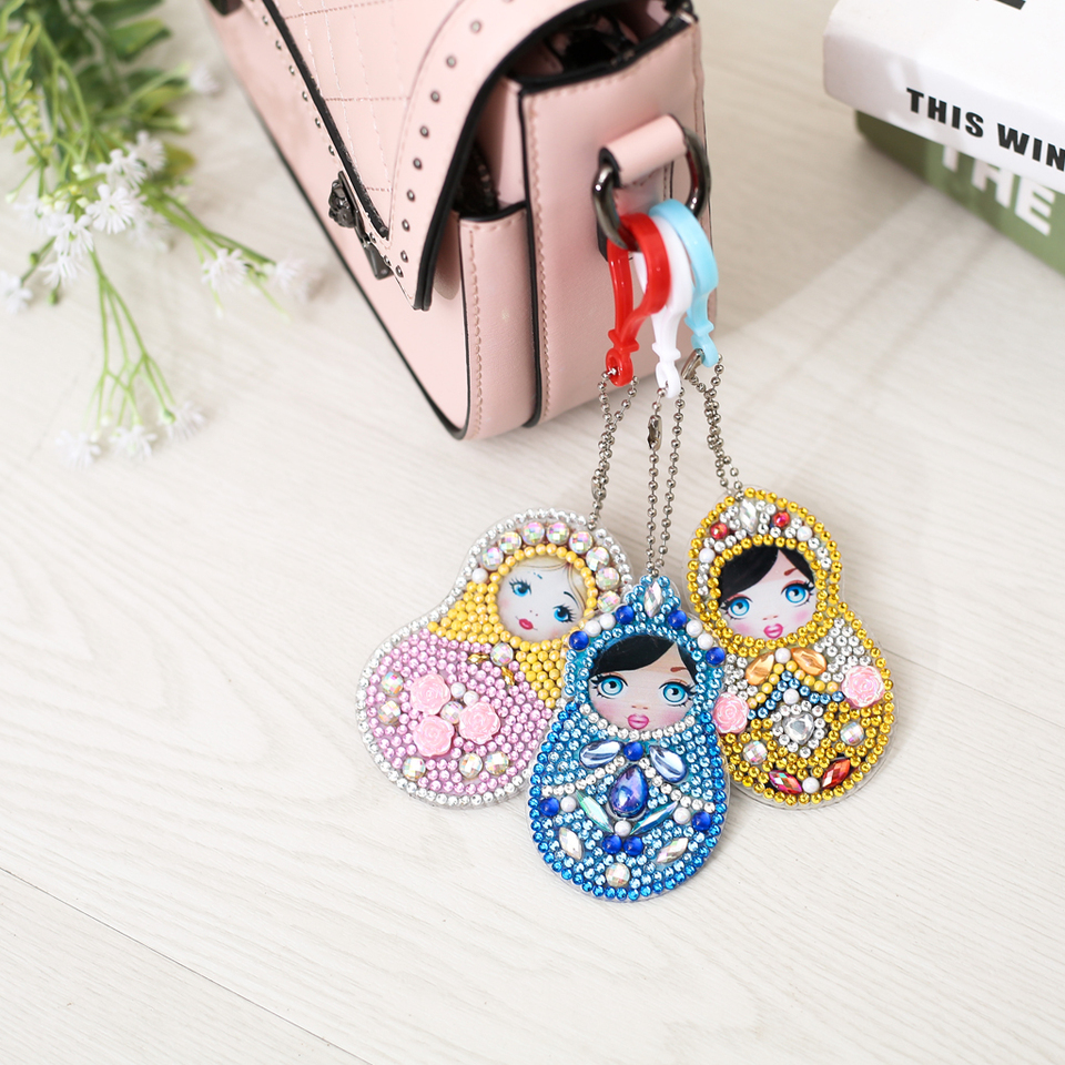 DIY Full Special Shaped Diamond Painting Doll Russia Cartoon Keyring  Keychains Cross Stitch Embroidery Women Bag Key Chain