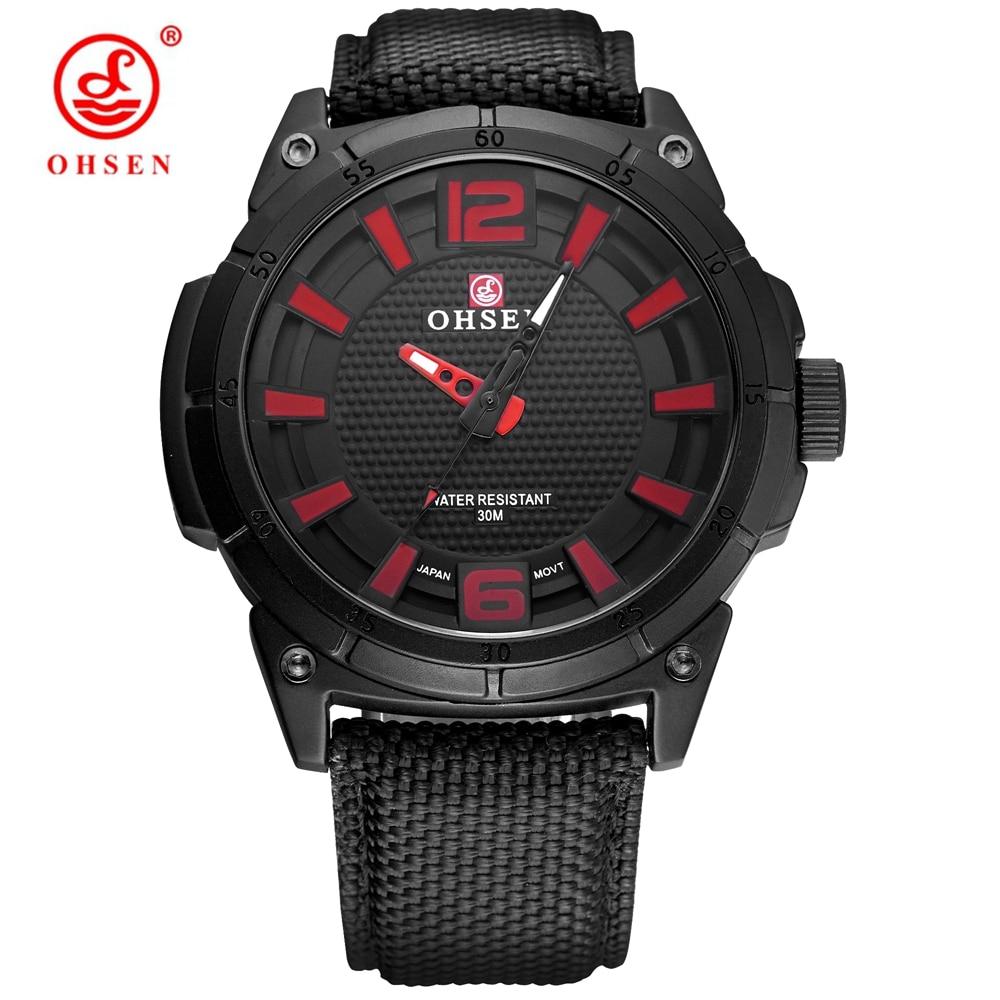 Лидер продаж бренд OHSEN Мода Повседневное мужской красный кварцевые часы Для мужчин человек наручные часы Спортивные часы Холст Кожаный рем...