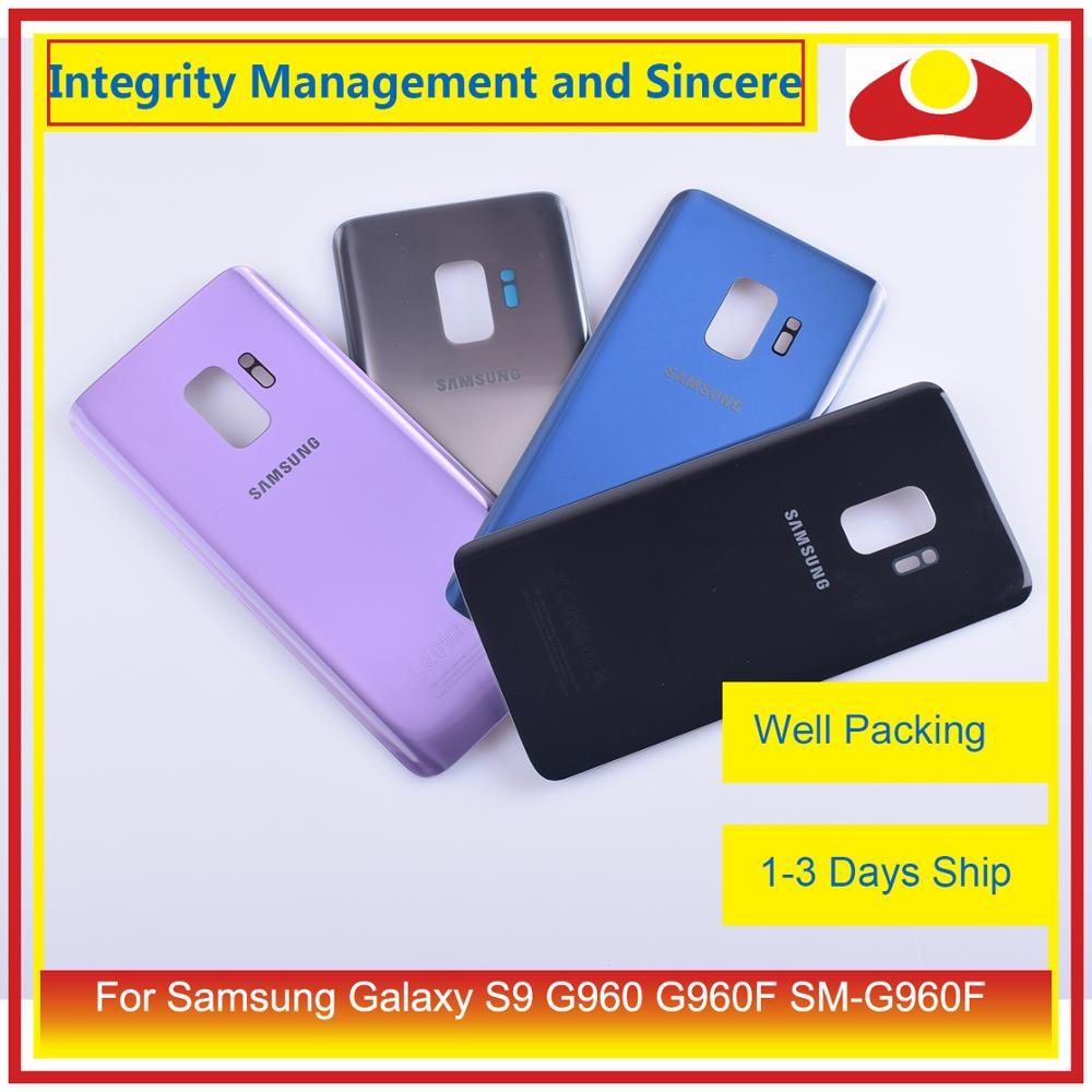 10Pcs/lot For Samsung Galaxy S9 <font><b>G960</b></font> G960F SM-G960F Housing Battery Door Rear <font><b>Back</b></font> Glass Cover Case Chassis Shell image