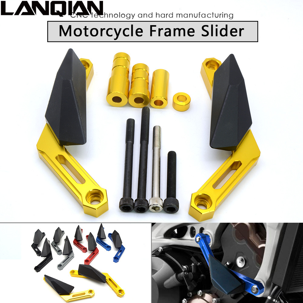 Motorcycle Frame Sliders Crash Engine Protection Pad Aluminium Side Shield Protector For Yamaha MT09 FZ09 2013-2017 MT-09 FZ-09