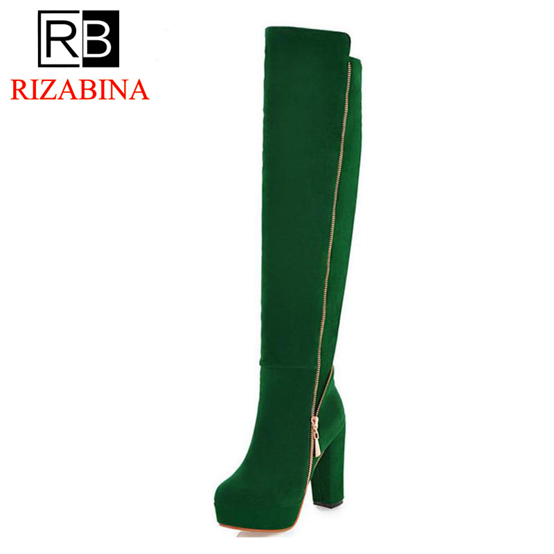 RizaBina woman over knee boot high heel boots women botas snow fashion winter footwear warm long boot shoes P10318 EUR size34-43 size 31 45 women real genuine leather high heel over knee boots winter warm long boot riding quality sexy footwear shoes r8297
