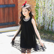2019 Girl Children's Mesh Dress Summer Girls Dresses Black Sleeveless Princess Dress 7 8 9 10 11 12 13 14 Teen Casual Clothes