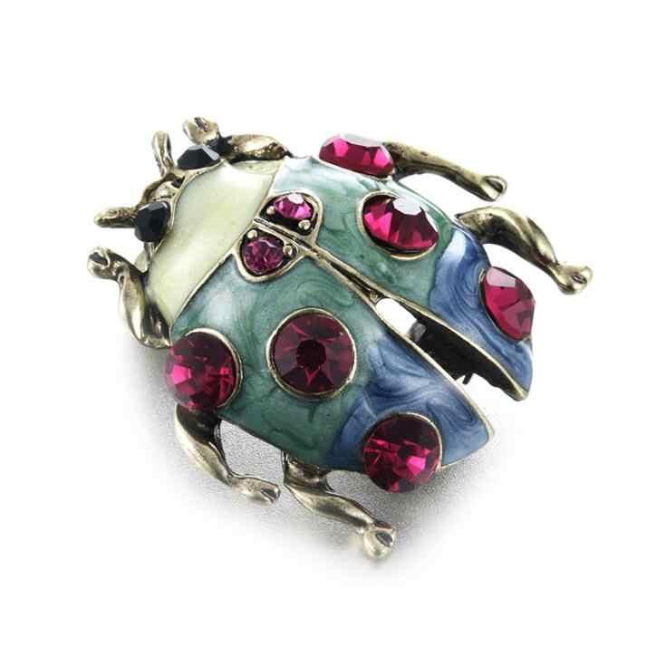 2019 Baru Gaya Fashion Perhiasan Warna Merah Biru Crystal Alloy Sederhana Ladybug Enamel Bros untuk Wanita Pria Perhiasan Terbaik hadiah