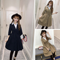 2016 Women Trench Coatlt Slim Students Coats Khaki Dark Blue 8425