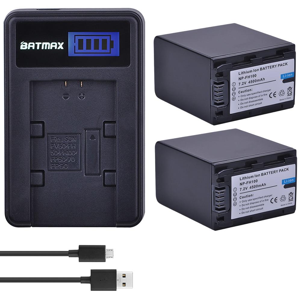 2 Pcs 4500 mAh NP-FH100 NP FH100 Bateria + USB Carregador de LCD para Sony DCR-SX40 SX40R HDR-CX105 FH60 FH70 FH90 FH30 FH40 FP50 SR42E