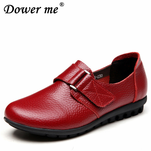 d77fee3456 2018 Female Fashion Platform Office Autumn Footwear Women Flat Slip-On  Genuine Leather Hook Loop Casual Large size 43 Mom Shoes