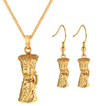 Women Jewelry Set KUNDU Drum Necklace Earrings Set for Girl Excellent Papua New Guinea Gold Color PN