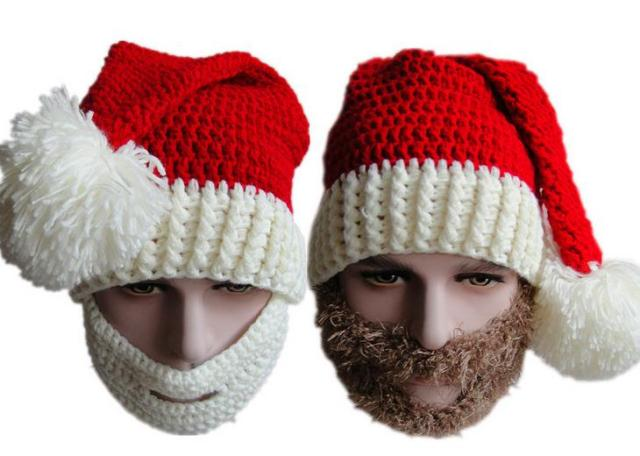 c894806c72b 60pcs lot knitted christmas beard hat beanies santa crochet hat-in ...