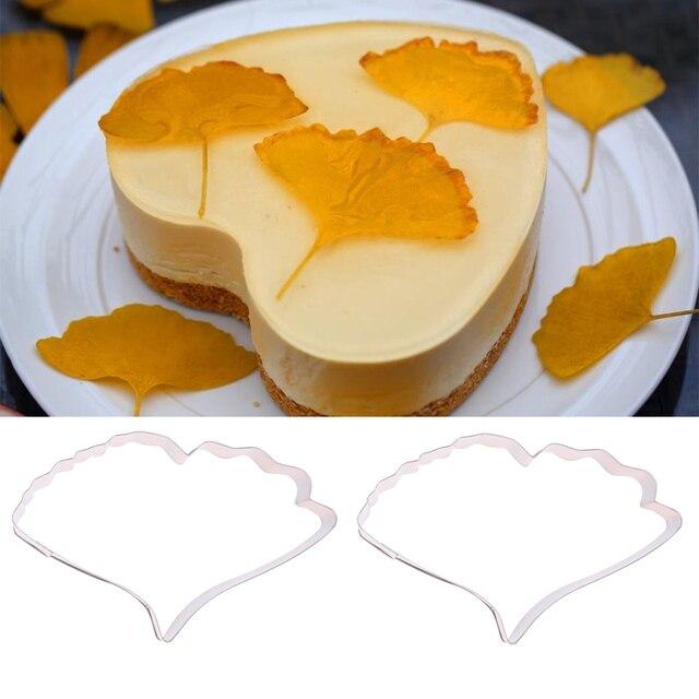 2pcs/set Stainless Steel Ginkgo Biloba Leaf Shape Biscuit Cookie ...