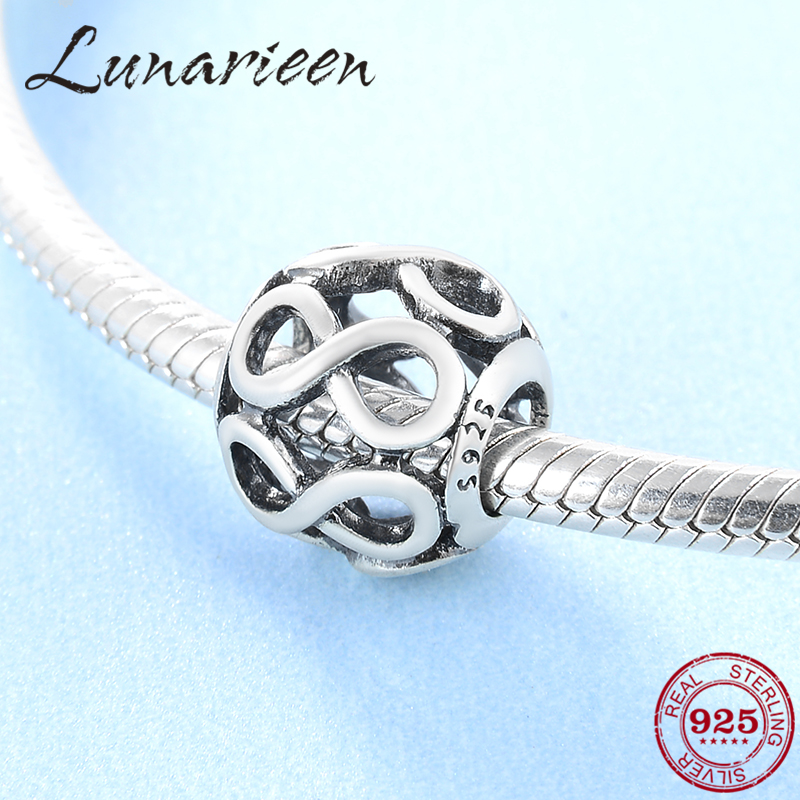 Wholesale New 925 Sterling Silver Fashion Digital Cutout Diy Jewelry Beads Fit Original Pandora Charm Bracelet Jewelry Making