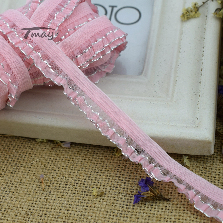10Yards 13mm Elastic Ribbon Belt Skirt Clothes Elastic Spandex Ruffled Band Trim