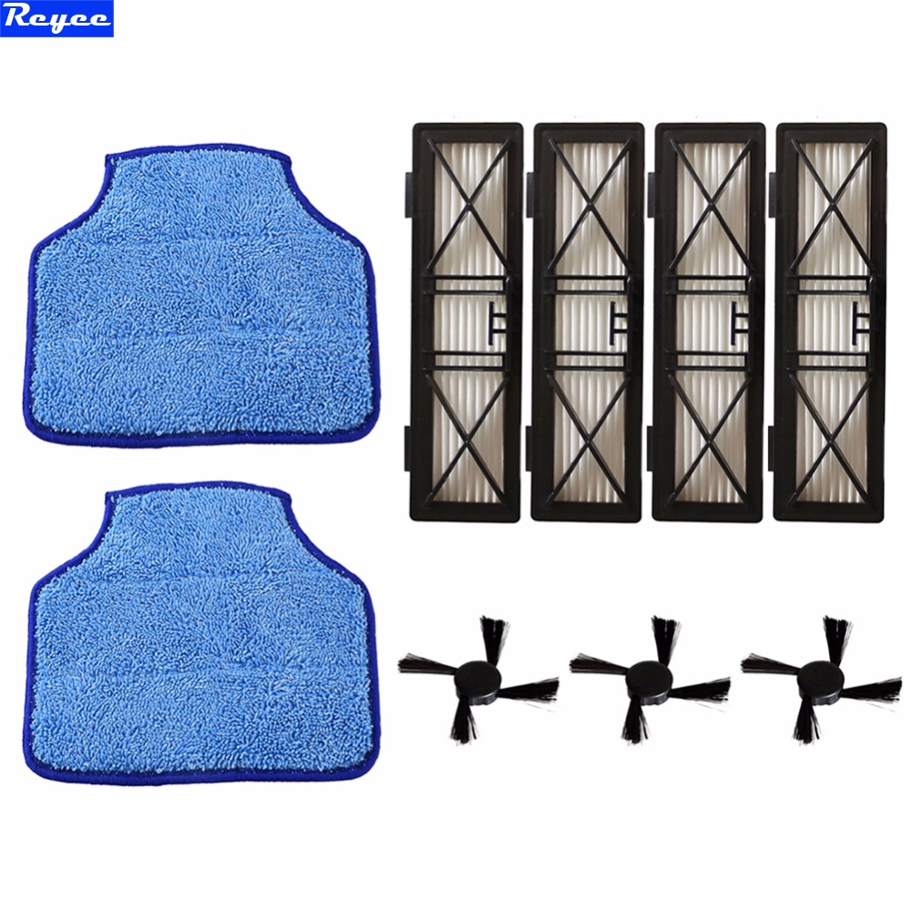 4 Hepa Filter Replace Part 945-0215 & 3 Side Brush & 2 Micro-fiber Mopping Cloth for Neato BotVac D Series D70, 70E, 75, 80, 85 5x hepa filter side brush for neato botvac 70e 750 80 85 robotic cleaner high quality
