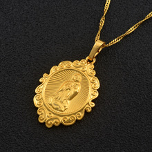 Anniyo Wholesale Lucky Gold Color Virgin Mary Pendants Necklaces Chain Women,Christianity Jewelry Our Lady Goddess #050504