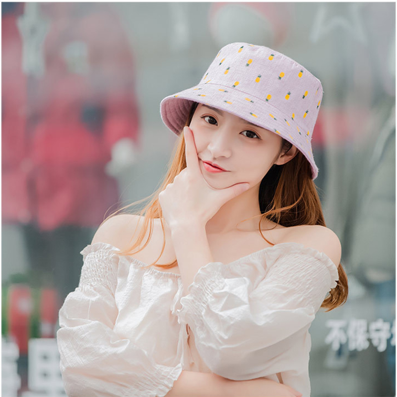 Hat ladies summer pineapple cloth cap foldable double-sided fisherman hat Korean version of the cute fashion basin wild