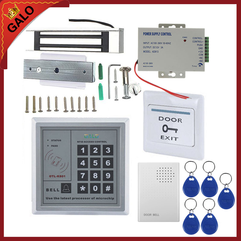Wired Keypad Reader Entry Door Lock Access Control Security System kit with 5ps 125KHZ card access control all in one machine reader entry door keypad lock access control system for office family