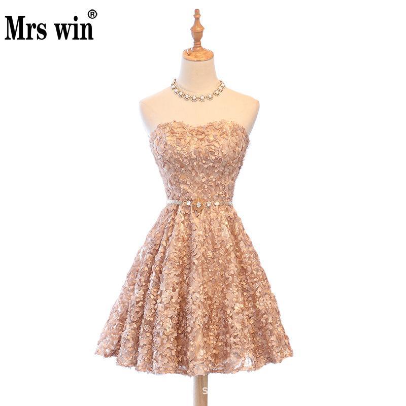 Mrs Win Champagne Short Strapless Evening Dress Noble Sweet Temperament Prom Dress Dinner Party Host Dress Vestidos Avondjurk L