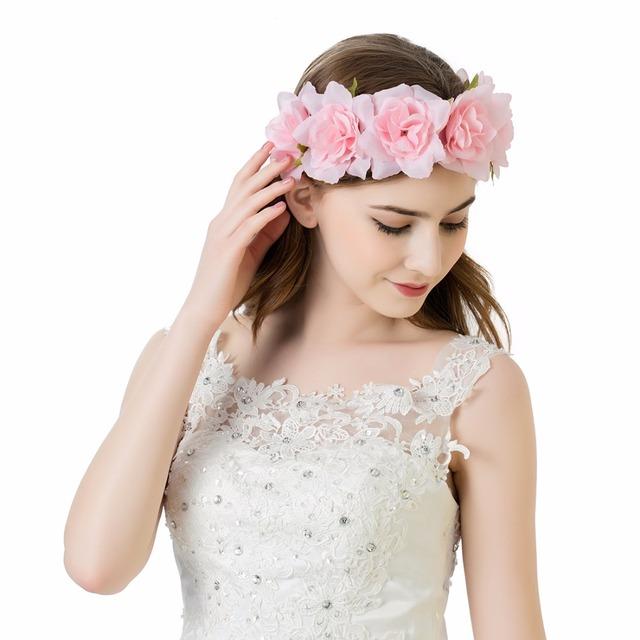 AWAYTR Fashion Women Bride Flower Headband Bohemian Cloth Flower Crown Hairband Ladies Elastic Summer Beach Hair Accessories