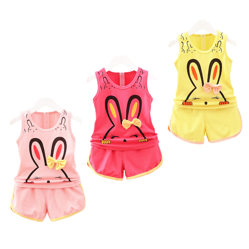 2017 Fashion Spring Baby Clothing Sets Children Boys Girls Kids Brand Sport Suits Tracksuits Cotton Short + Pants 2pcs