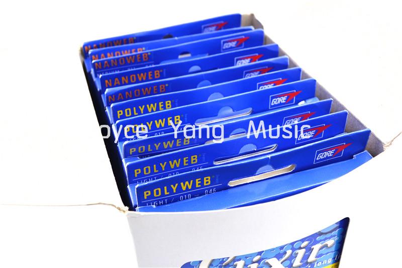 Prix pour 12 Ensembles de Elixir NANOWEB/POLYWEB Électrique Guitare Cordes Anti-Rouille Plaine Acier Cordes Super Lumière Moyen