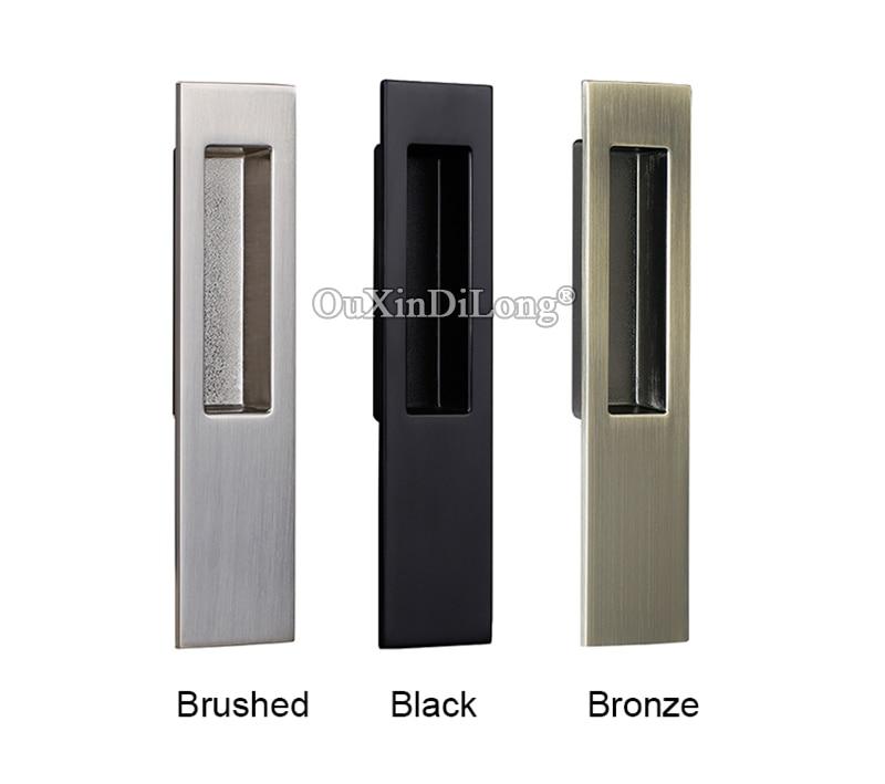 Brand New 1Pair European Recessed Sliding Door Handles Hidden Invisible Cupboard Wardrobe Cabinet Push Pull Handles 3 Colors in Door Handles from Home Improvement