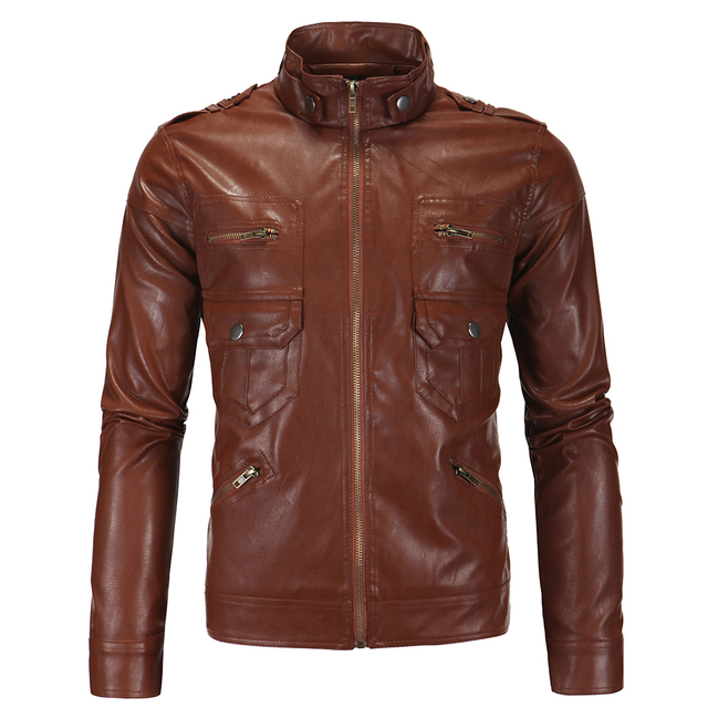 Leather Jacket Limited Promotion Fashion Standard Men 2016 Autumn Winters Collar Locomotive Garment Leather Leather Jacket Men