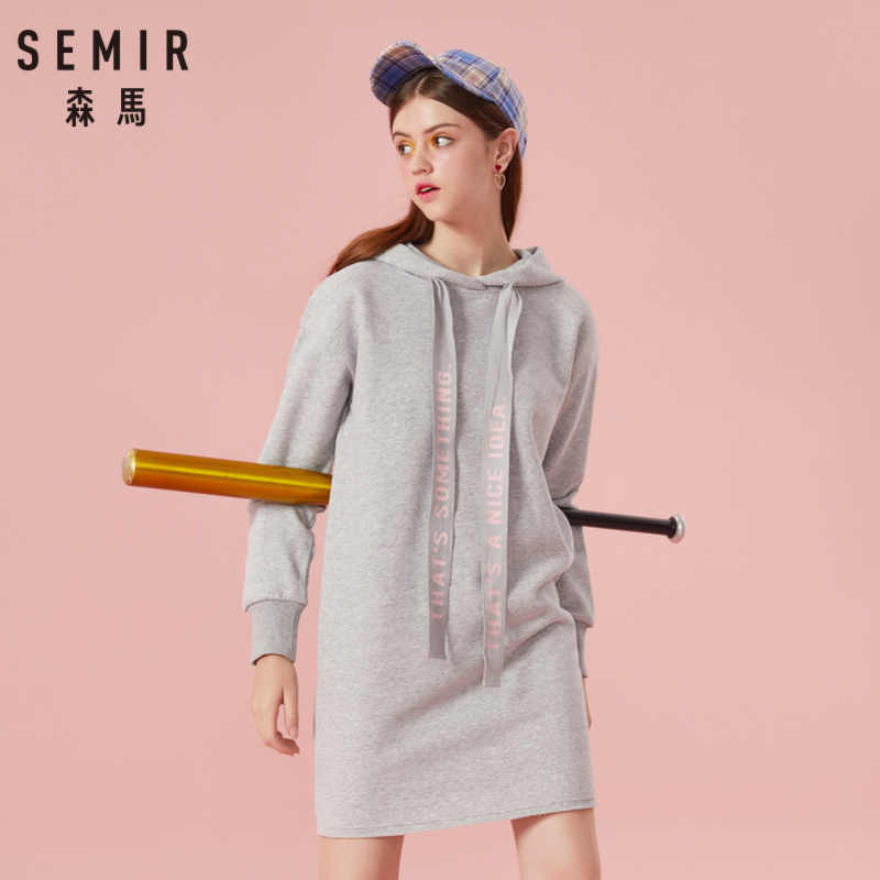 SEMIR Женская хлопковая толстовка с капюшоном платье с заниженным плечом Спортивная Толстовка Платье с подкладкой на шнурке с капюшоном трикотажная резинка на манжете