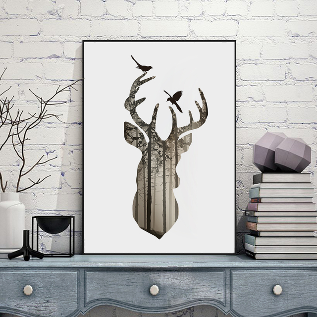 aliexpress : buy silhouette of deer head with pine forest