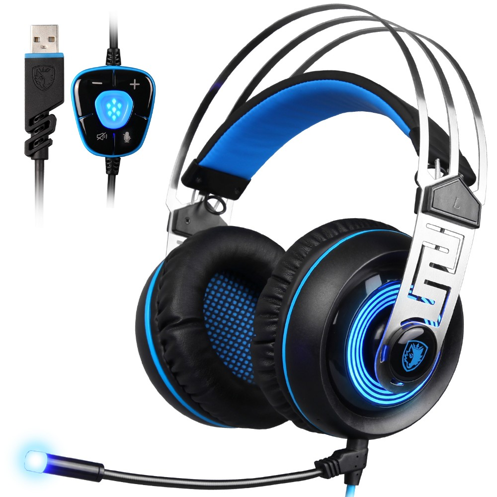 SADES A7 USB 7.1 Surround Sound Stereo wired Gaming Headphone Blue Led Lighting Headsets with Microphone for Laptop PC game sades a7 usb gaming headset 7 1 stereo surround sound earphones with microphone mac stereo headphone led for pc laptop gamer e02