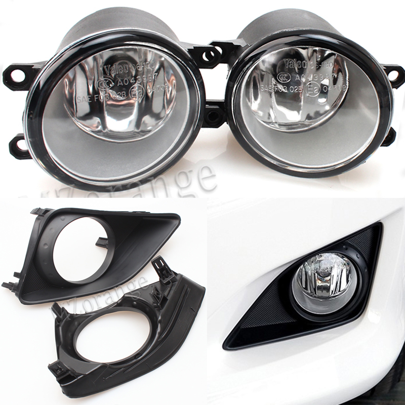 MZORANGE Fast Shipping 1Set Black Front Right/Left Fog Light Lamp+Grille Cover Bezel for Toyota Corolla 2007 2008 2009 2010 hot sale abs chromed front behind fog lamp cover 2pcs set car accessories for volkswagen vw tiguan 2010 2011 2012 2013