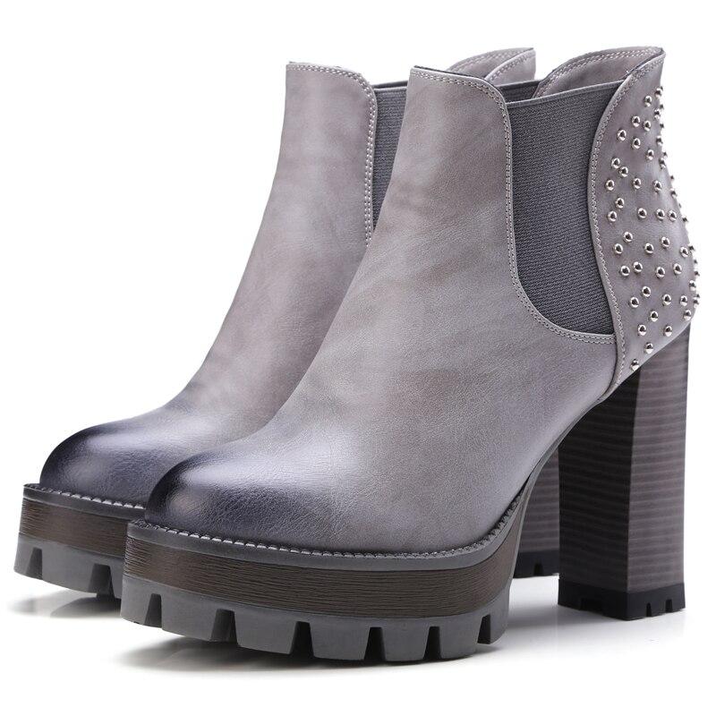 ФОТО European street style comfortable round toe ankle boots fashion rivet elastic platform high heel women's riding boots
