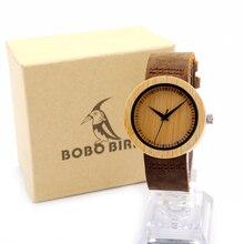 БОБО ПТИЦА A08 мужская Дизайн Бренда Роскошный Бамбука Часы С Реальной кожаный Ремешок Кварцевые Часы в Коробке Подарка Reloj mujer Примите OEM