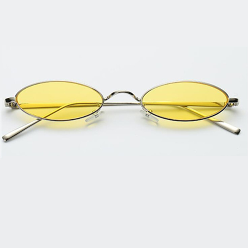 Small oval sunglasses for men male retro metal frame yellow red vintage small round sun glasses for women 2018 UV400 in Men 39 s Sunglasses from Apparel Accessories