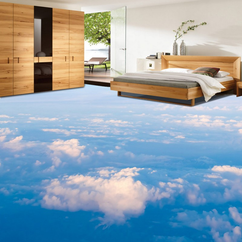 Free shipping HD blue sky white living room bedroom floor painting custom moisture proof self adhesive