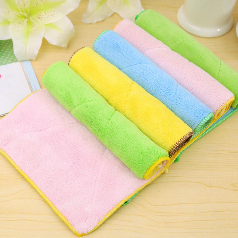 1Pcs Double-sided thickening High Efficient Microfiber Anti Grease Dish Cloth Washing Towel Kitchen Cleaning Cloths