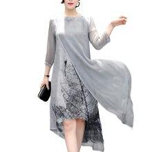 77f99caccfd90 2018 Boho Beyaz İlkbahar Yaz Beyaz Mürekkep Baskı Kadınlar Uzun Elbise  Retro Pamuk Keten Tasarımlar Yanlış Iki Parçalı Ipek Elbi.