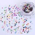 1 Caja de Uñas Glitter Paillette Lentejuelas de Colores Oro Plata Corazón de la Estrella DIY Manicura Consejos Decoración de Uñas de Arte