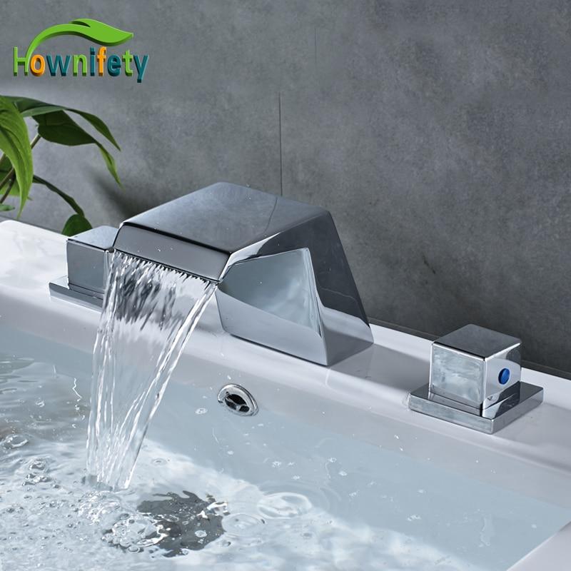 Contemporary Chrome Widespread 3pcs Bathroom Basin Faucet Double Handles Bathroom Vessel Sink Tap