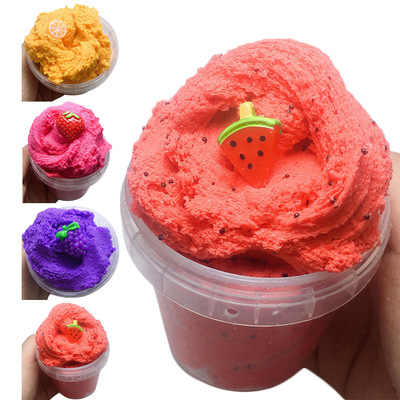 60ML Fruit Strawberry Fluffy Slime Cloud Slime Modeling Clay Rainbow Slime Toy For Kid Children Antistress Reliever