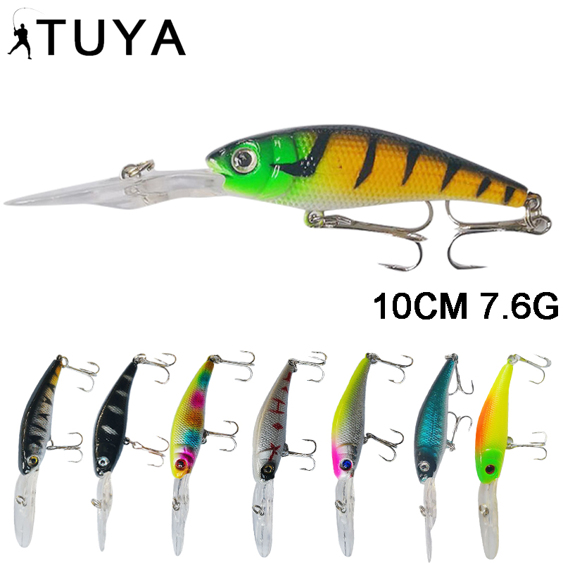 TUYA Wobblers Minnow Fishing Lure Long Lip Crankbaits Artificial Bionic Fish Hard Bait Trolling Lure Cranks bait Pike Bass