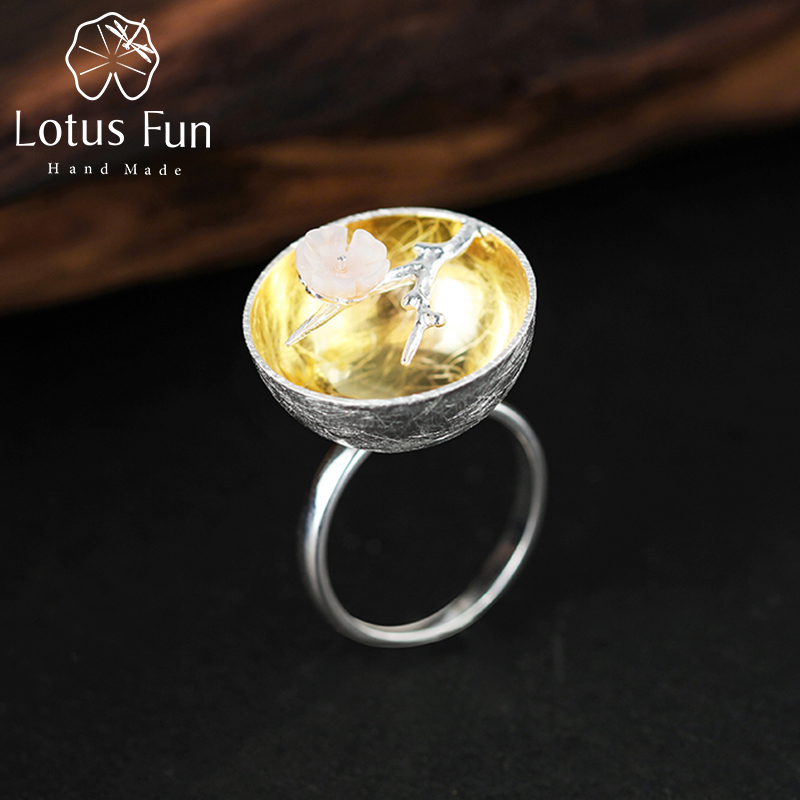 Lotus Fun Real 925 Sterling Silver Ring Natural Handmade Fine Jewelry Flower Ring The Aroma of Wintersweet Rings for Women